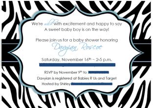 Blue and black zebra print baby shower