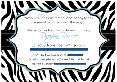 Blue and black zebra print baby shower