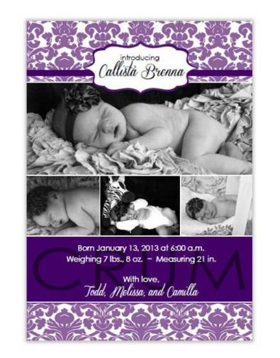 Damask baby announcement