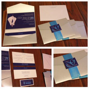 Trifold enclosed with teal ribbon and custom monogram
