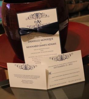Navy and white wedding invitation