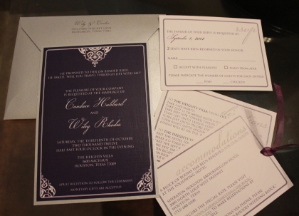 Eggplant and silver wedding invite set