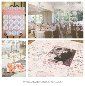 """18x24"""" poster mounted on an easel helped guests find their seats"""