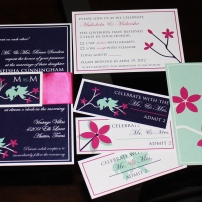 Full suite with custom monogram tag; love birds theme