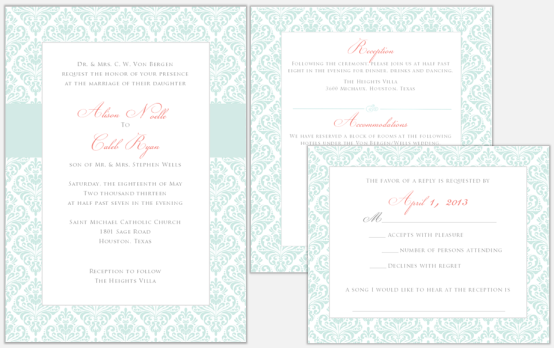 Teal and coral invitation set