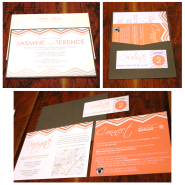 Five-piece suite includes panel pocket, invitation, directions/accommodations card, registry/rsvp card, and ticket