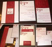 Crimson and gray color scheme; custom monogram tag; bilingual double-sided invitation, rsvp postcard