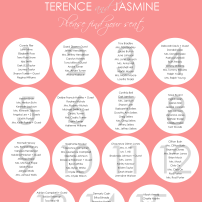 Chevron wedding seating chart