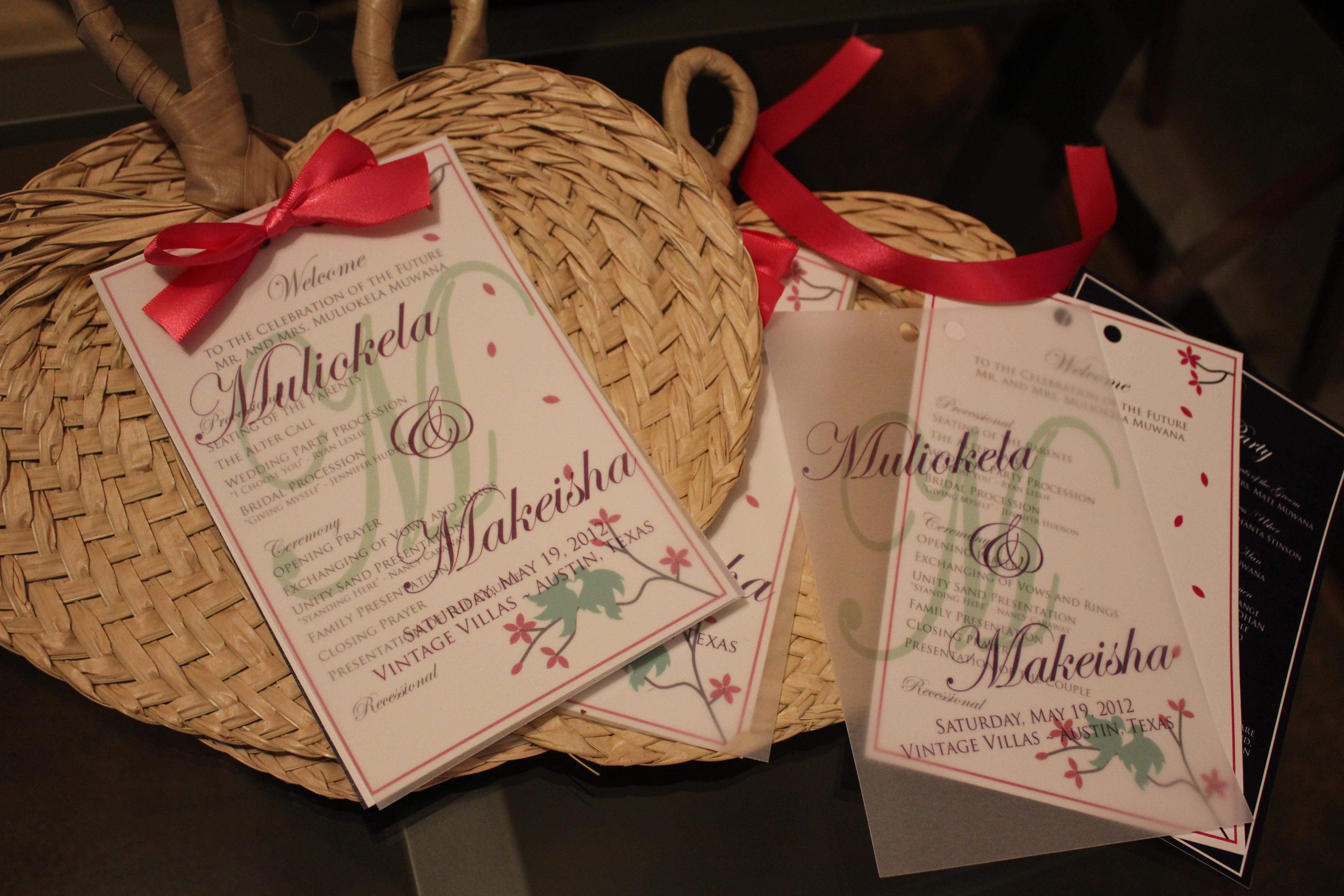raffia wedding program fans designs by deawn