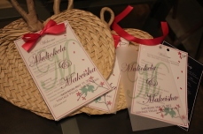 Two-page program with vellum cover sheet and fuchsia ribbon, attached to raffia fans