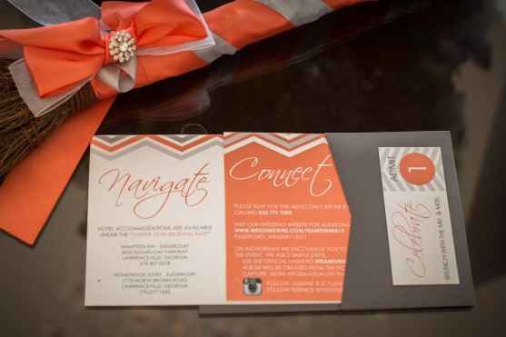 Coral and gray chevron stripes make this simple design very chic and classic.