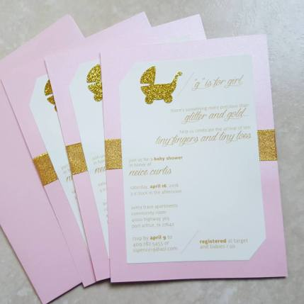 Girls Gold and Pink baby shower