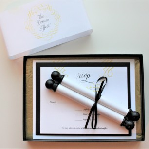 scroll wedding invitation set